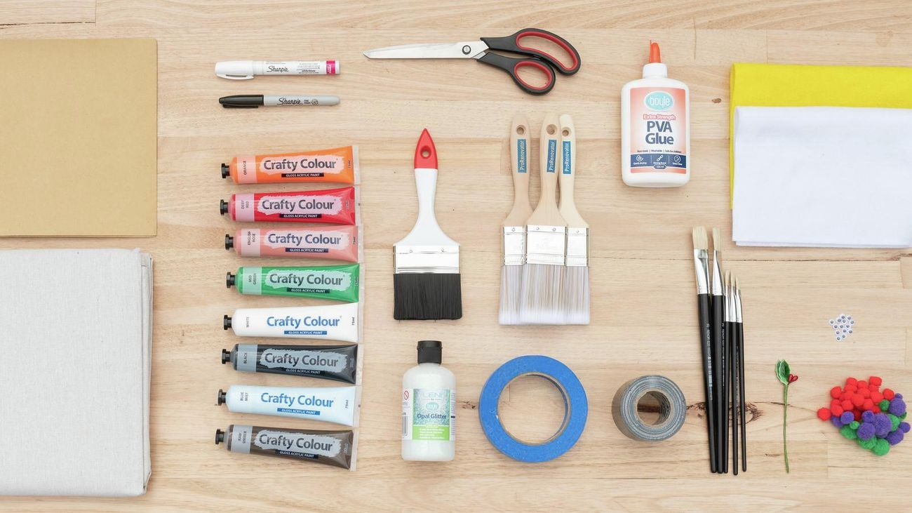 Tools & materials required to make a paint brush Christmas decoration