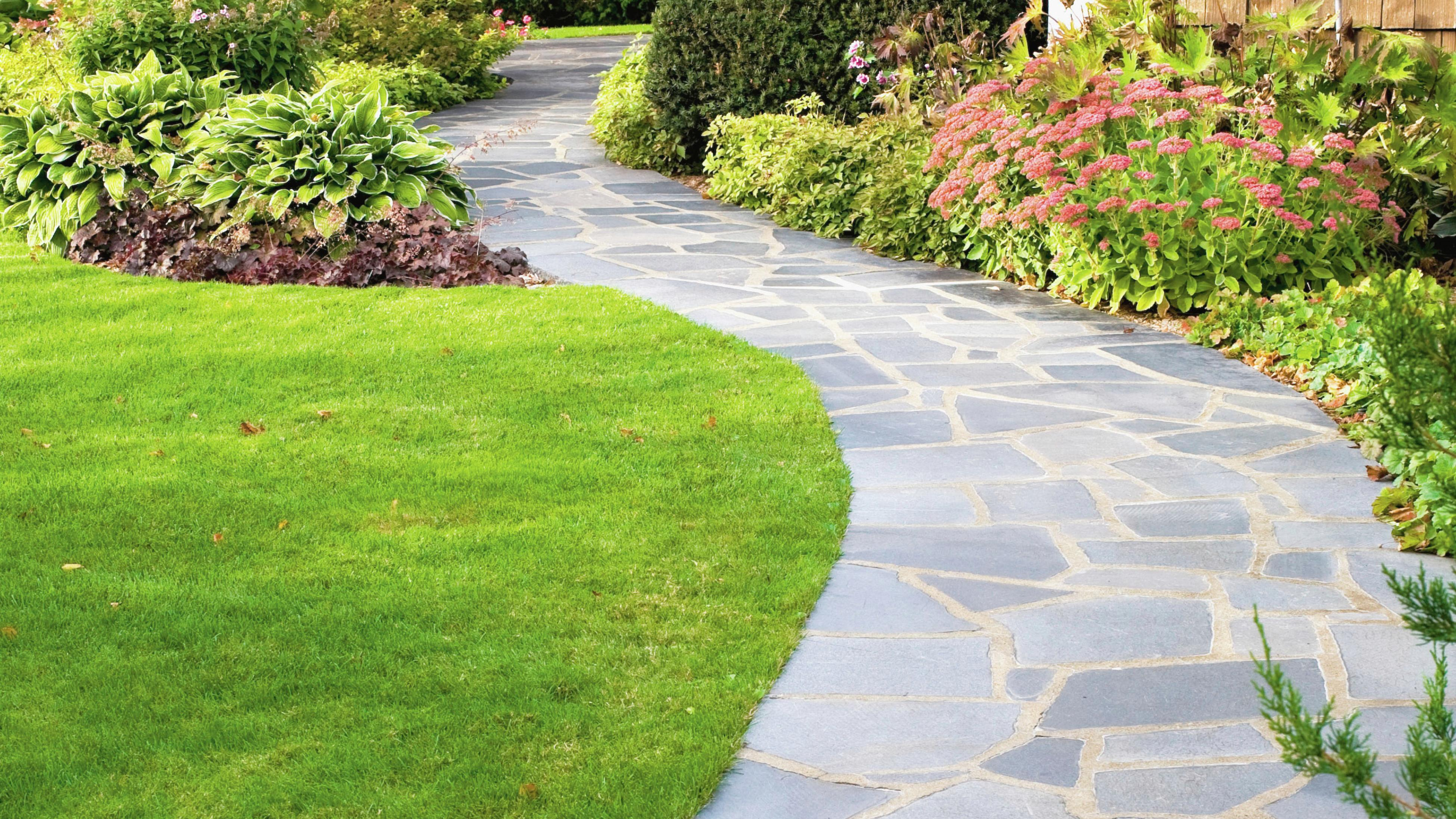 A paved walkway to a home