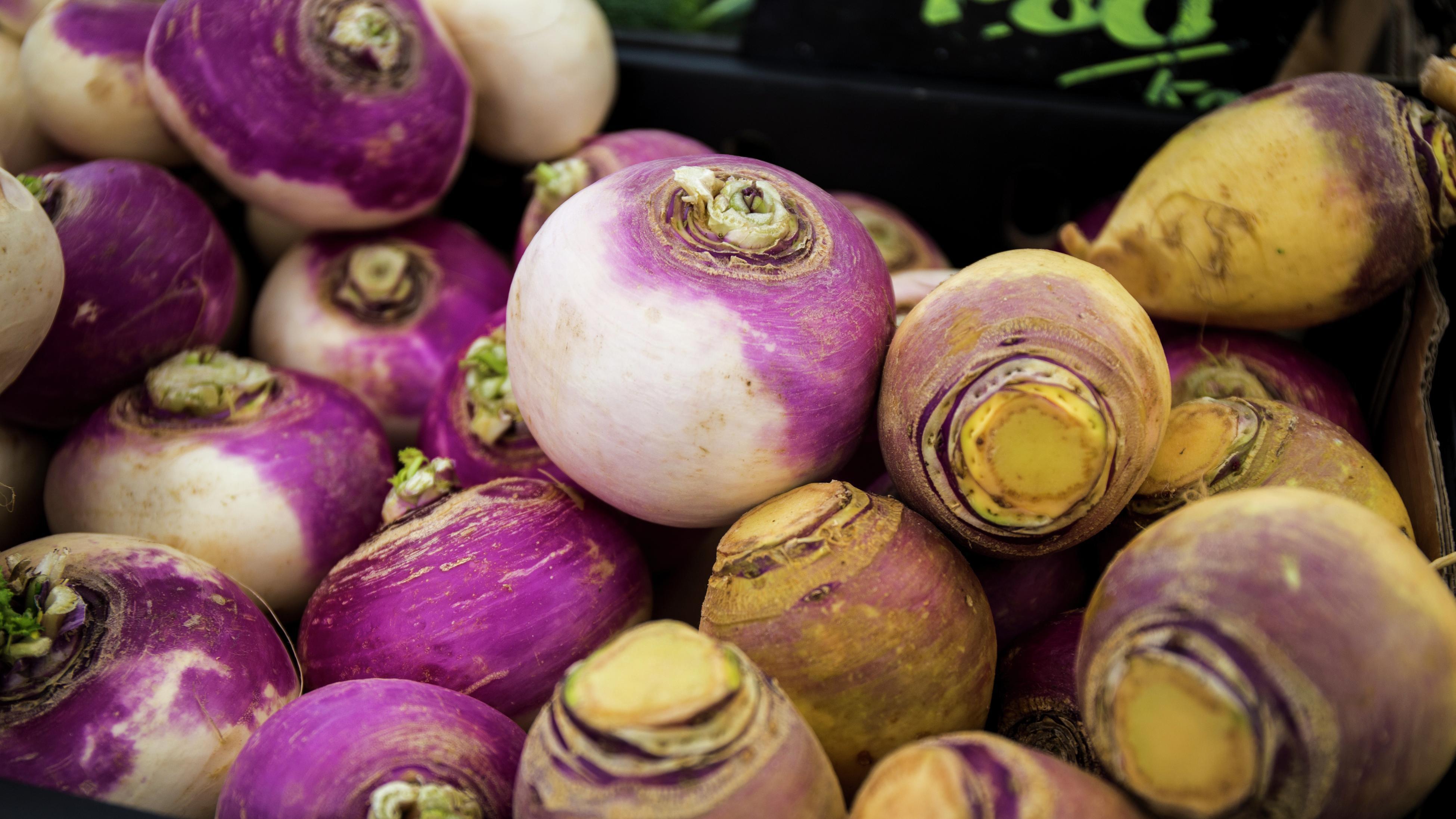 Close-up of swedes (vegetables)
